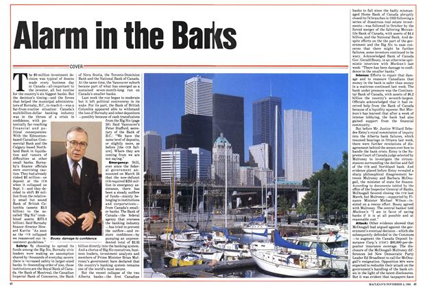 Article Preview: Alarm in the Banks, November 1985 | Maclean's