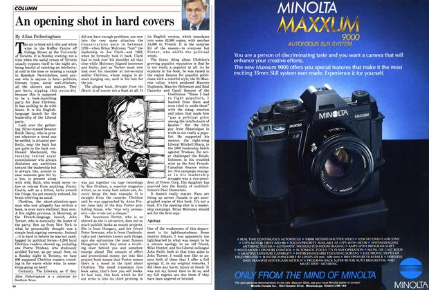 Article Preview: An opening shot in hard covers, November 1985 | Maclean's