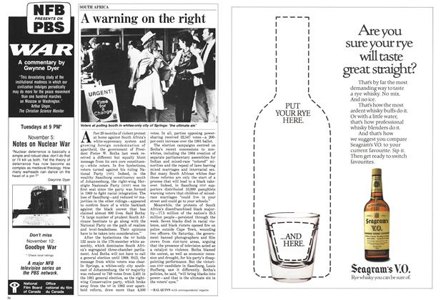 Article Preview: A warning on the right, November 1985 | Maclean's