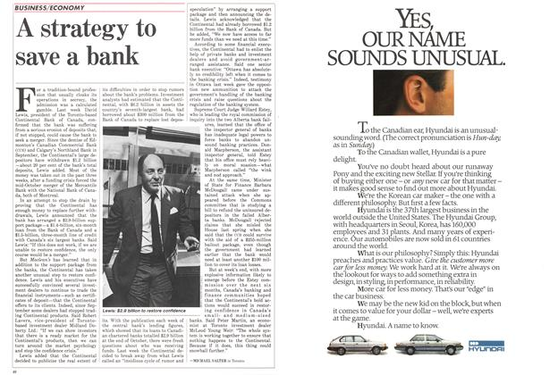 Article Preview: A strategy to save a bank, November 1985 | Maclean's