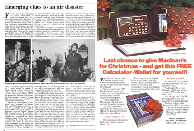 Article Preview: Emerging clues to an air disaster, November 1985 | Maclean's