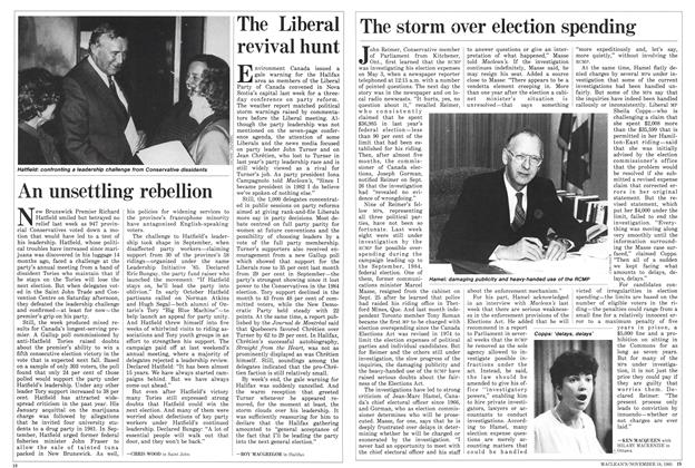 Article Preview: The storm over election spending, November 1985 | Maclean's