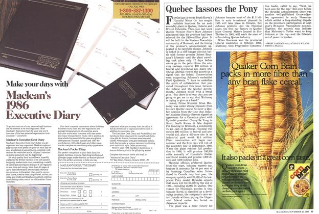 Article Preview: Quebec lassoes the Pony, November 1985 | Maclean's