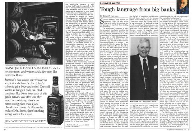 Article Preview: Tough language from big banks, November 1985 | Maclean's