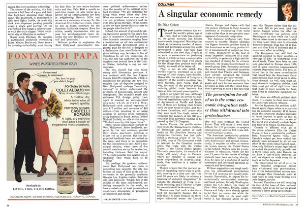 Article Preview: A singular economic remedy, December 1985 | Maclean's