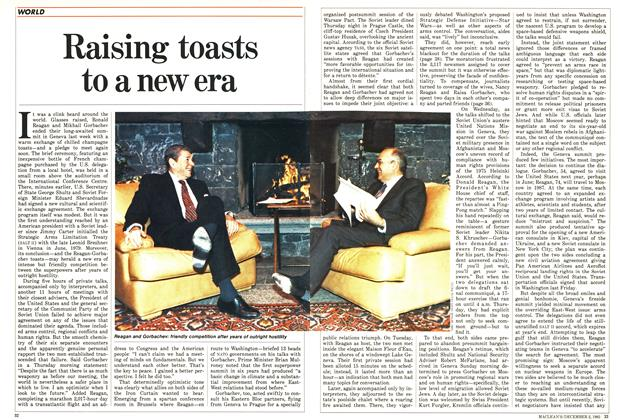 Article Preview: Raising toasts to a new era, December 1985 | Maclean's