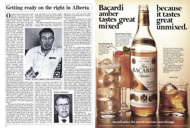 Article Preview: Getting ready on the right in Alberta, December 1985 | Maclean's