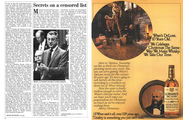Article Preview: Secrets on a censored list, December 1985 | Maclean's