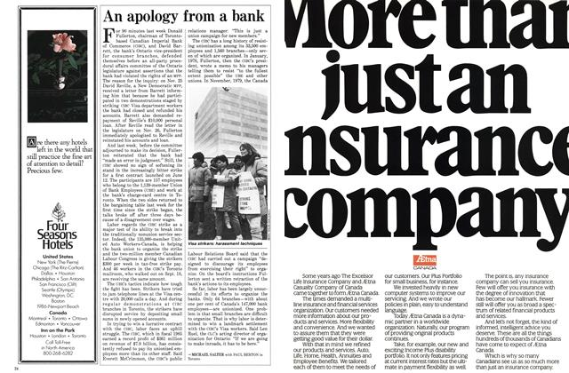 Article Preview: An apology from a bank, December 1985 | Maclean's