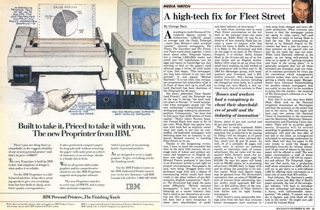 Article Preview: A high-tech fix for Fleet Street, December 1985 | Maclean's