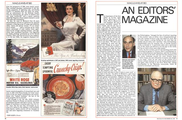 Article Preview: AN EDITORS' MAGAZINE, December 1985 | Maclean's