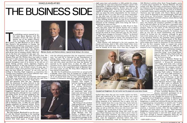 Article Preview: THE BUSINESS SIDE, December 1985 | Maclean's