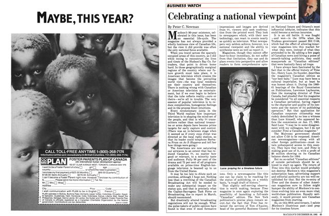 Article Preview: Celebrating a national viewpoint, December 1985 | Maclean's