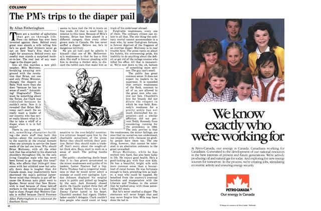 Article Preview: The PM's trips to the diaper pail, December 1985 | Maclean's