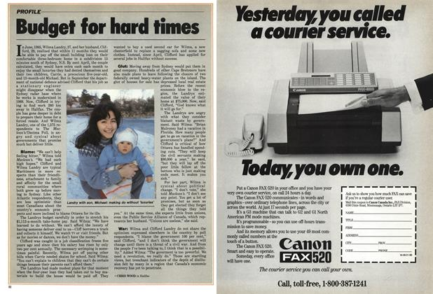Article Preview: Budget for hard times, January 1986 | Maclean's