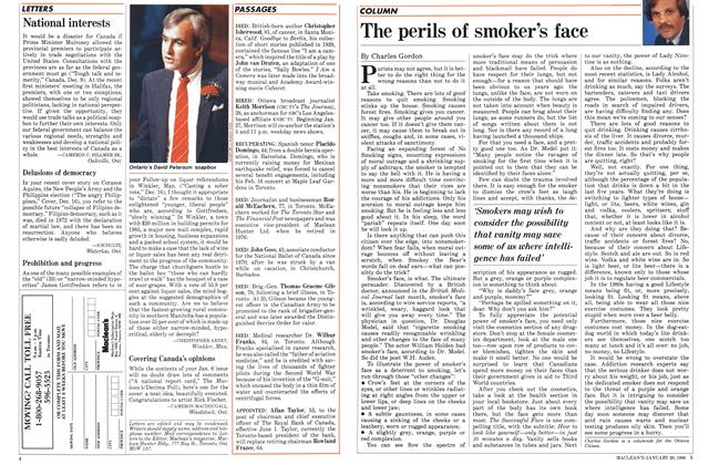 Article Preview: The perils of smoker's face, January 1986 | Maclean's