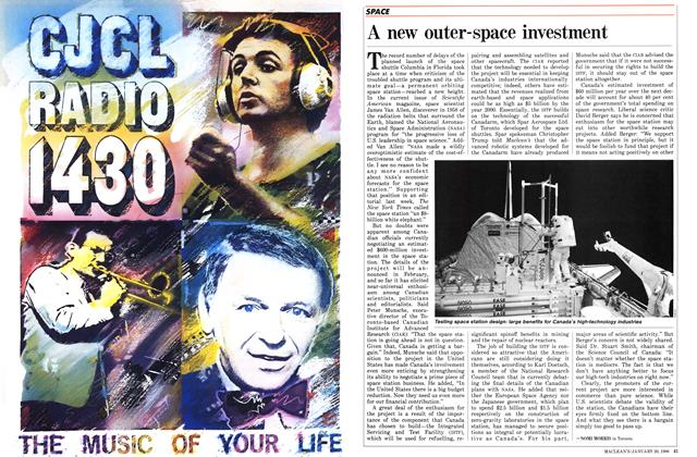 Article Preview: A new outer-space investment, January 1986 | Maclean's