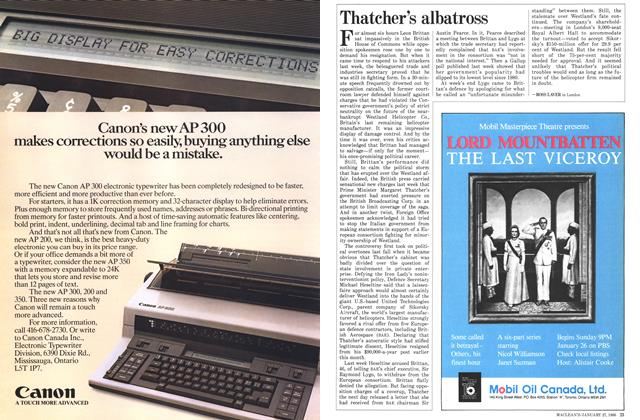 Article Preview: Thatcher's albatross, January 1986 | Maclean's