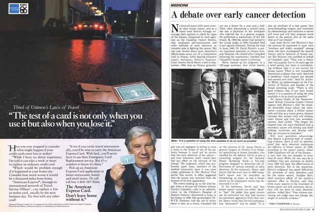 Article Preview: A debate over early cancer detection, January 1986 | Maclean's