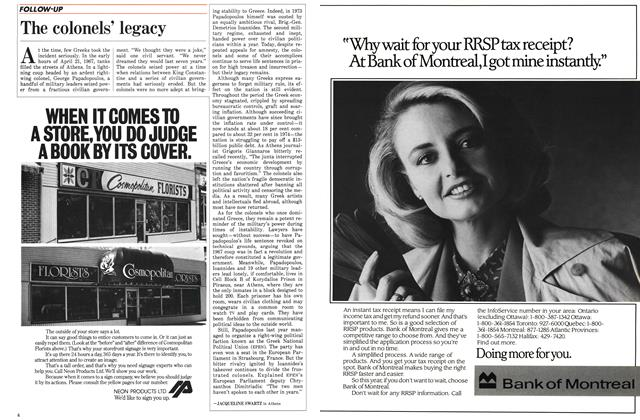 Article Preview: The colonels' legacy, January 1986 | Maclean's