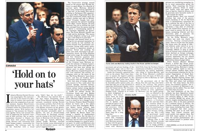 Article Preview: 'Hold on to your hats', January 1986 | Maclean's