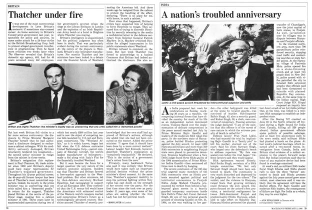 Article Preview: Thatcher under fire, February 1986 | Maclean's