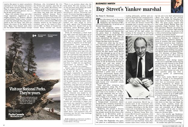 Article Preview: Bay Street's Yankee marshal, February 1986 | Maclean's