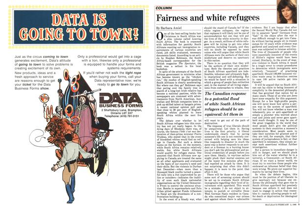 Article Preview: Fairness and white refugees, February 1986 | Maclean's