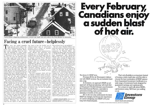 Article Preview: Facing a cruel future — helplessly, February 1986 | Maclean's