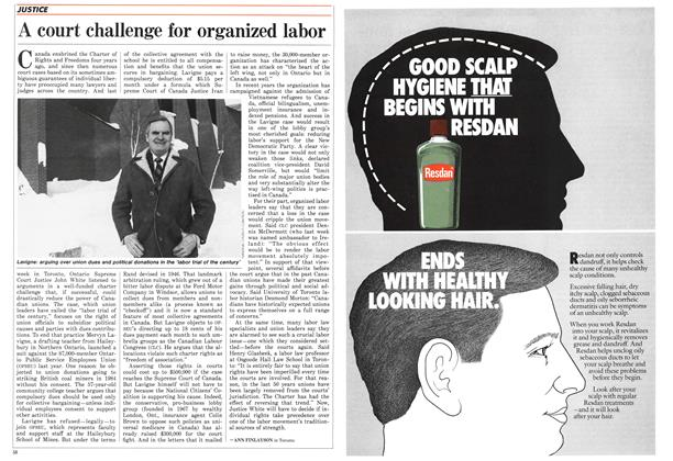 Article Preview: A court challenge for organized labor, February 1986 | Maclean's
