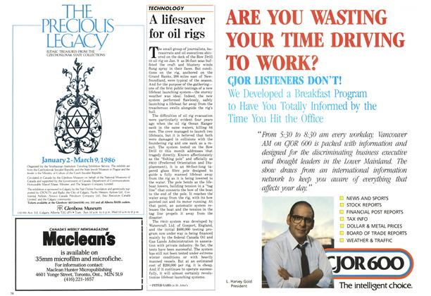 Article Preview: A lifesaver for oil rigs, February 1986 | Maclean's