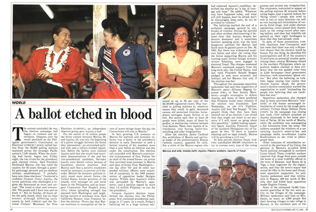 Article Preview: A ballot etched in blood, February 1986 | Maclean's