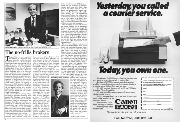 Article Preview: The no-frills brokers, February 1986 | Maclean's