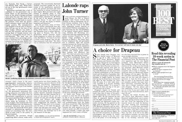Article Preview: Lalonde raps John Turner, March 1986 | Maclean's