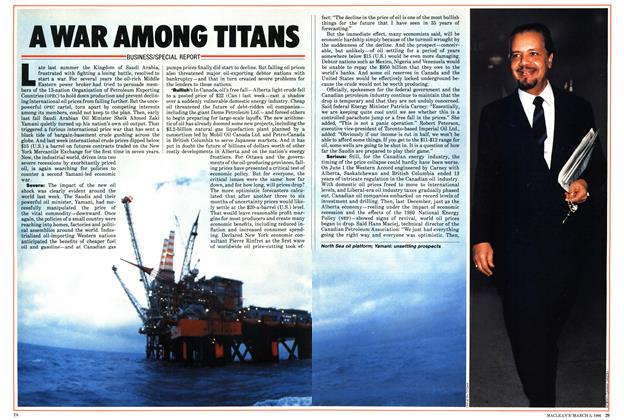 Article Preview: A WAR AMONG TITANS, March 1986 | Maclean's