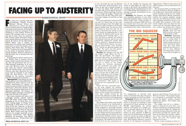 Article Preview: FACING UP TO AUSTERITY, March 1986 | Maclean's