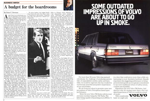 Article Preview: A budget for the boardrooms, March 1986 | Maclean's