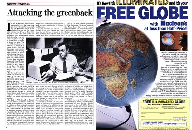 Article Preview: Attacking the greenback, March 1986 | Maclean's