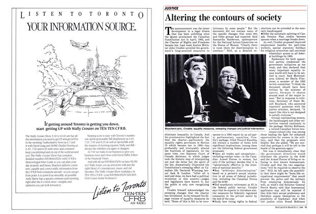 Article Preview: Altering the contours of society, March 1986 | Maclean's
