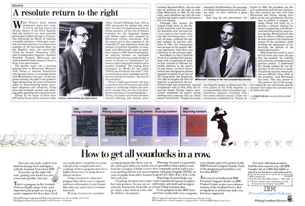 Article Preview: A resolute return to the right, March 1986   Maclean's
