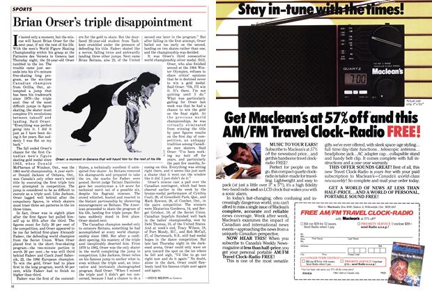 Article Preview: Brian Orser's triple disappointment, March 1986 | Maclean's