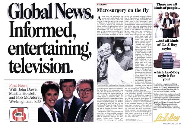 Article Preview: Microsurgery on the fly, April 1986 | Maclean's