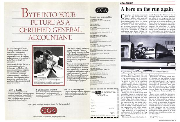 Article Preview: A hero on the run again, April 1986 | Maclean's