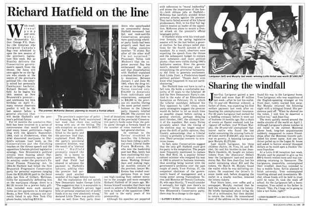 Article Preview: Richard Hatfield on the line, April 1986 | Maclean's