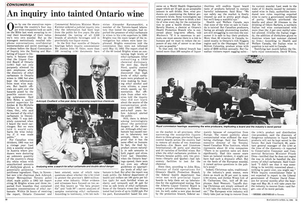 Article Preview: An inquiry into tainted Ontario wine, April 1986 | Maclean's