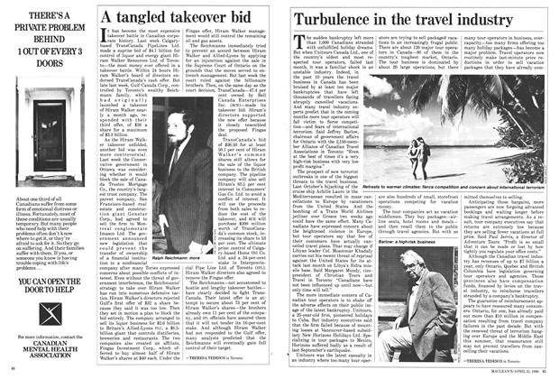 Article Preview: Turbulence in the travel industry, April 1986 | Maclean's