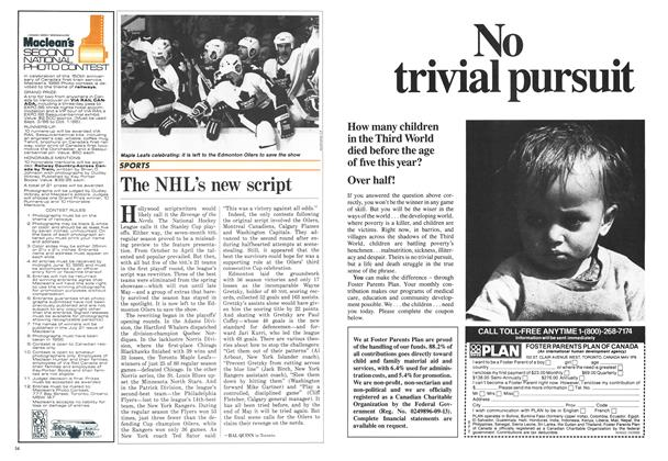 Article Preview: The NHL's new script, April 1986 | Maclean's