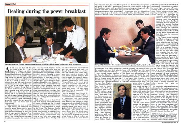Article Preview: Dealing during the power breakfast, May 1986 | Maclean's
