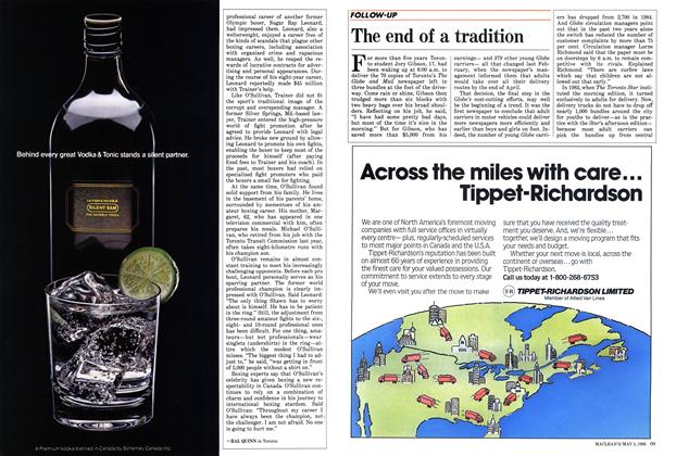 Article Preview: The end of a tradition, May 1986 | Maclean's