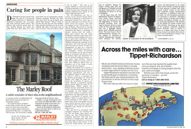 Article Preview: Caring for people in pain, MAY 12,1986 1986 | Maclean's